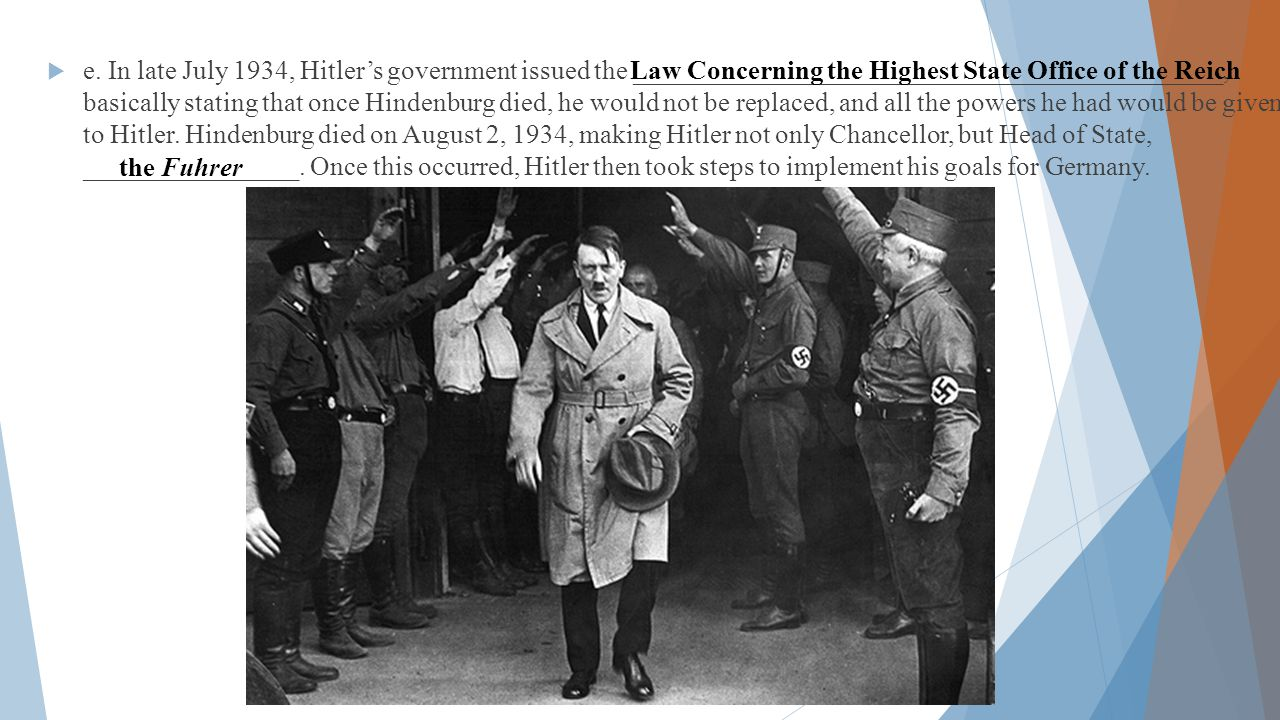  e. In late July 1934, Hitler's government issued the ____________________________________________, basically stating that once Hindenburg died, he w