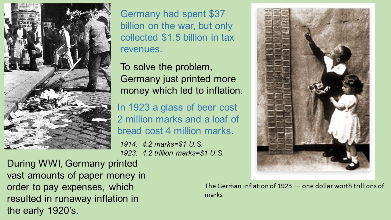 The German inflation of 1923 — one dollar worth trillions of marks During WWI, Germany printed vast amounts of paper money in order to pay expenses, w