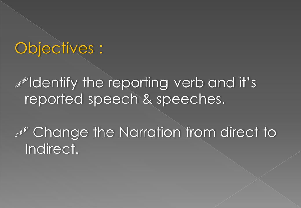 Objectives :  Identify the reporting verb and it's reported speech & speeches.