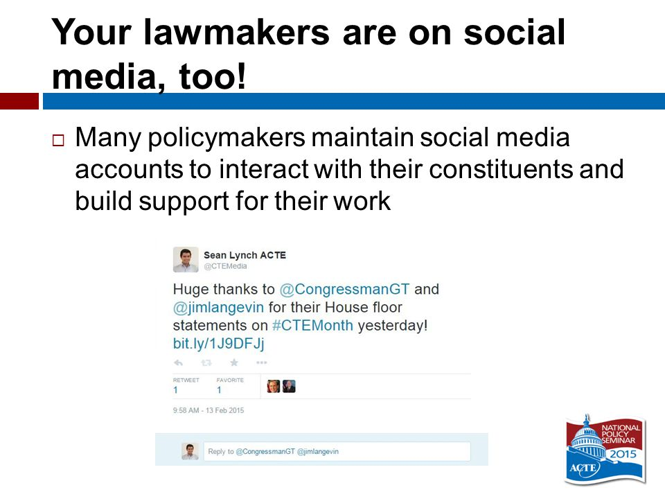 Your lawmakers are on social media, too.