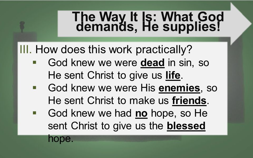 The Way It Is: What God demands, He supplies! III.How does this work practically?  God knew we were dead in sin, so He sent Christ to give us life. 