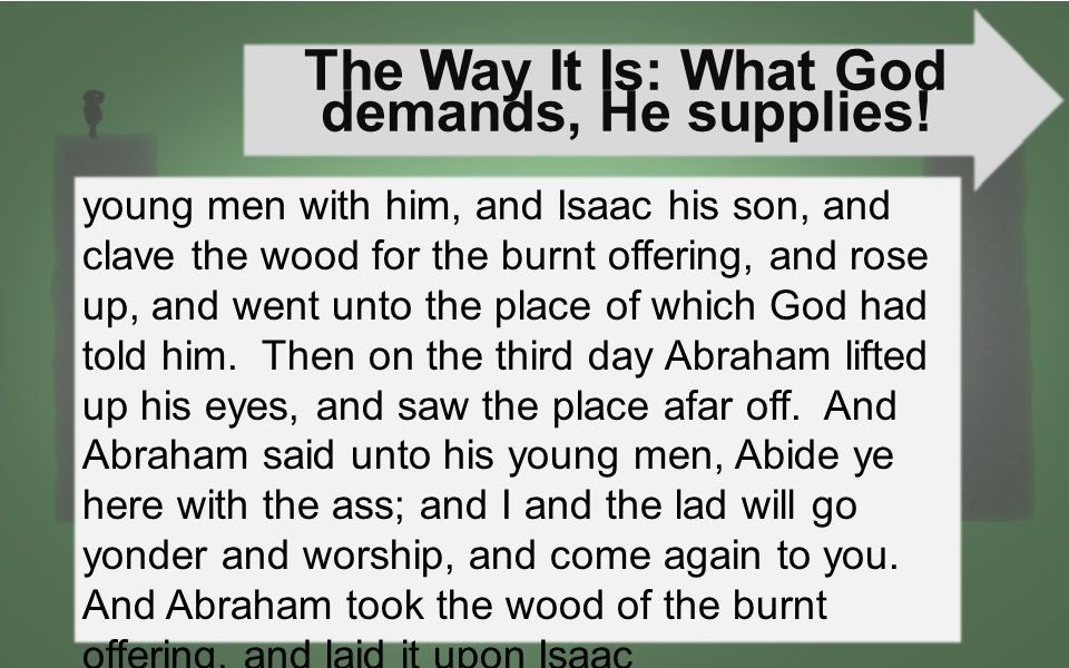The Way It Is: What God demands, He supplies.III.How does this work practically.