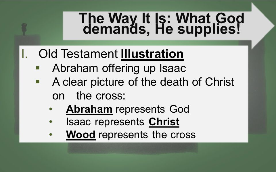 The Way It Is: What God demands, He supplies! I.Old Testament Illustration  Abraham offering up Isaac  A clear picture of the death of Christ on the