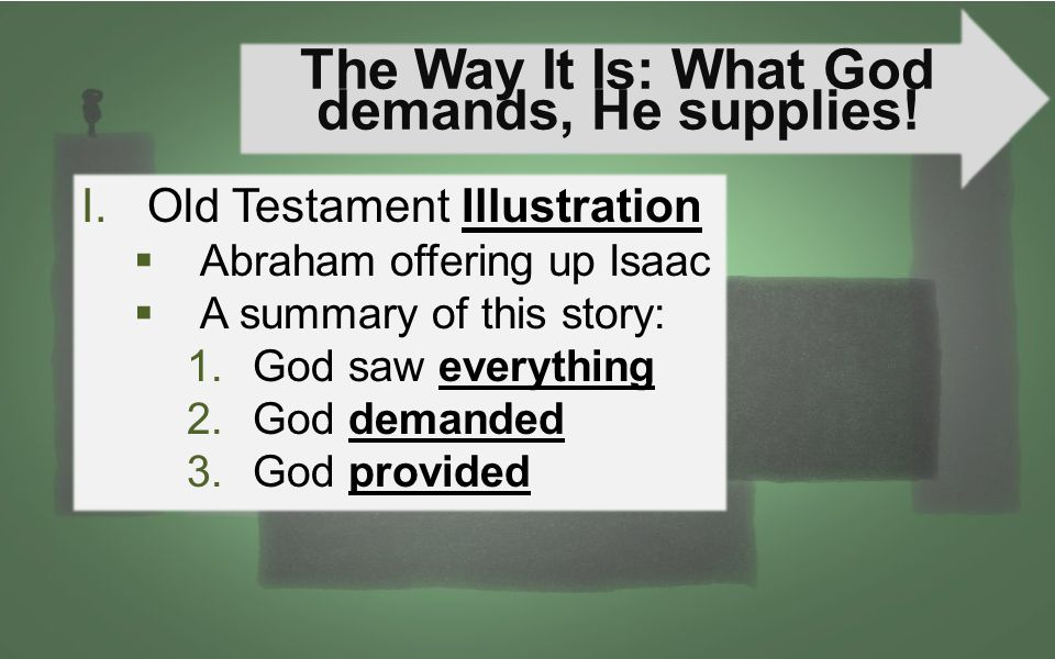 The Way It Is: What God demands, He supplies! I.Old Testament Illustration  Abraham offering up Isaac  A summary of this story: 1.God saw everything