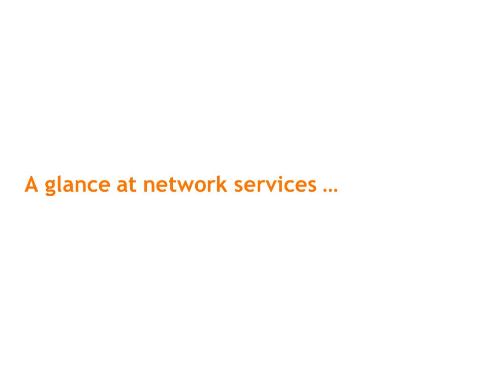 A glance at network services …