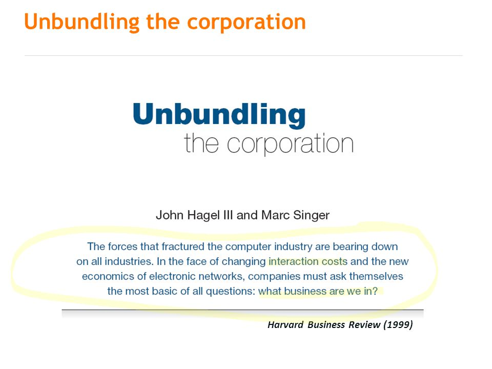 Unbundling the corporation Harvard Business Review (1999)