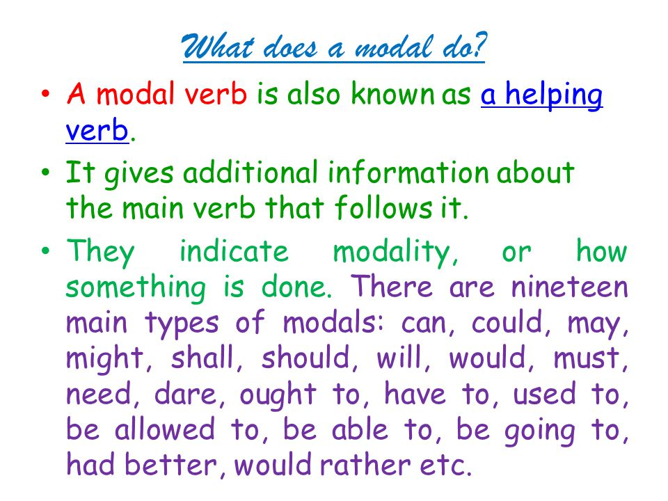 What does a modal do.A modal verb is also known as a helping verb.