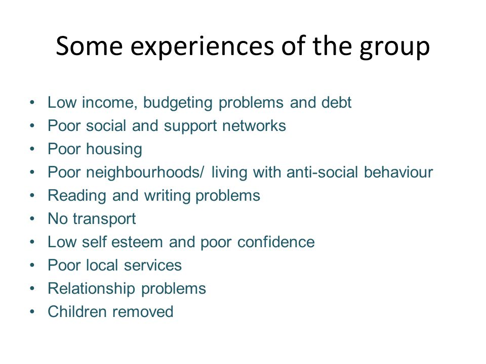 Some experiences of the group Low income, budgeting problems and debt Poor social and support networks Poor housing Poor neighbourhoods/ living with anti-social behaviour Reading and writing problems No transport Low self esteem and poor confidence Poor local services Relationship problems Children removed