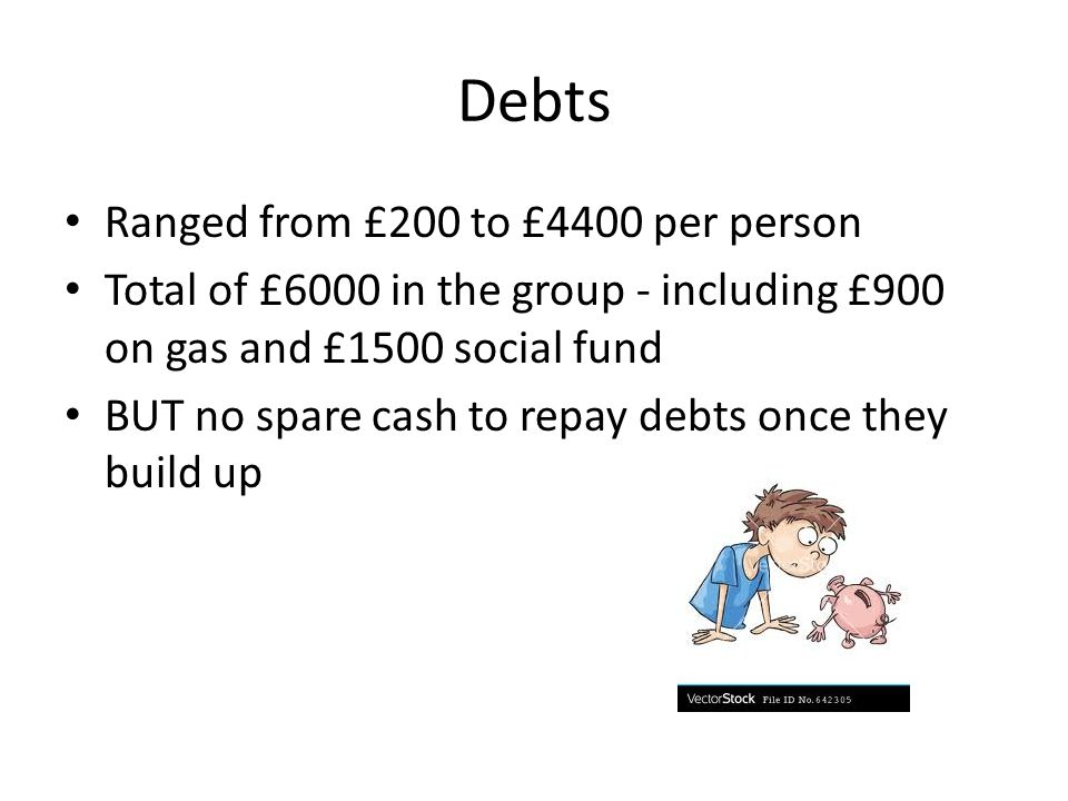 Debts Ranged from £200 to £4400 per person Total of £6000 in the group - including £900 on gas and £1500 social fund BUT no spare cash to repay debts once they build up