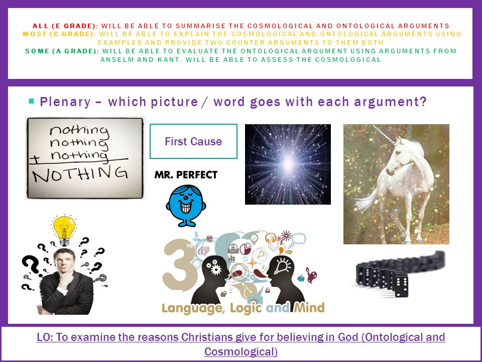  Plenary – which picture / word goes with each argument.
