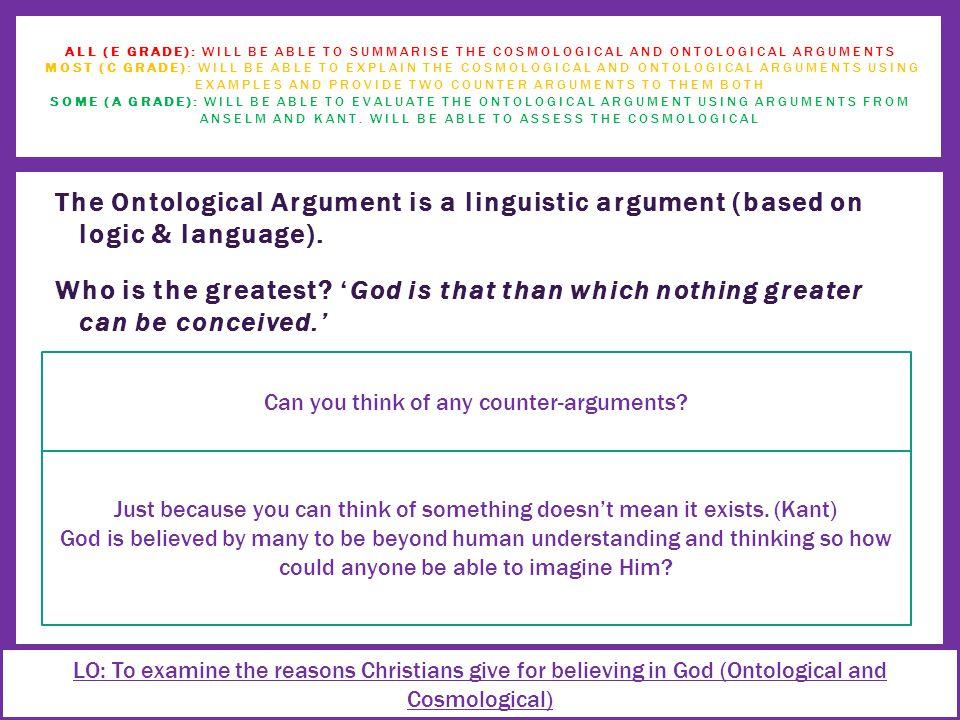 The Ontological Argument is a linguistic argument (based on logic & language).