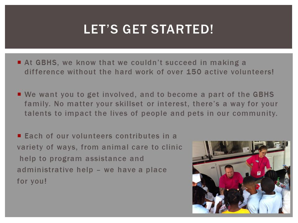  At GBHS, we know that we couldn't succeed in making a difference without the hard work of over 150 active volunteers!  We want you to get involved,