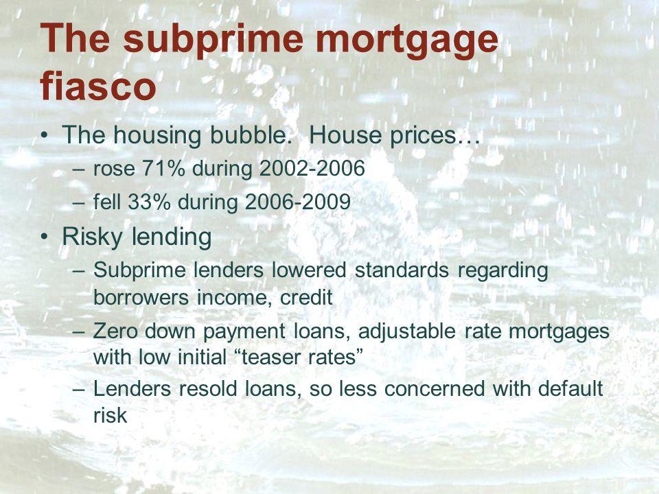 The subprime mortgage fiasco The housing bubble.
