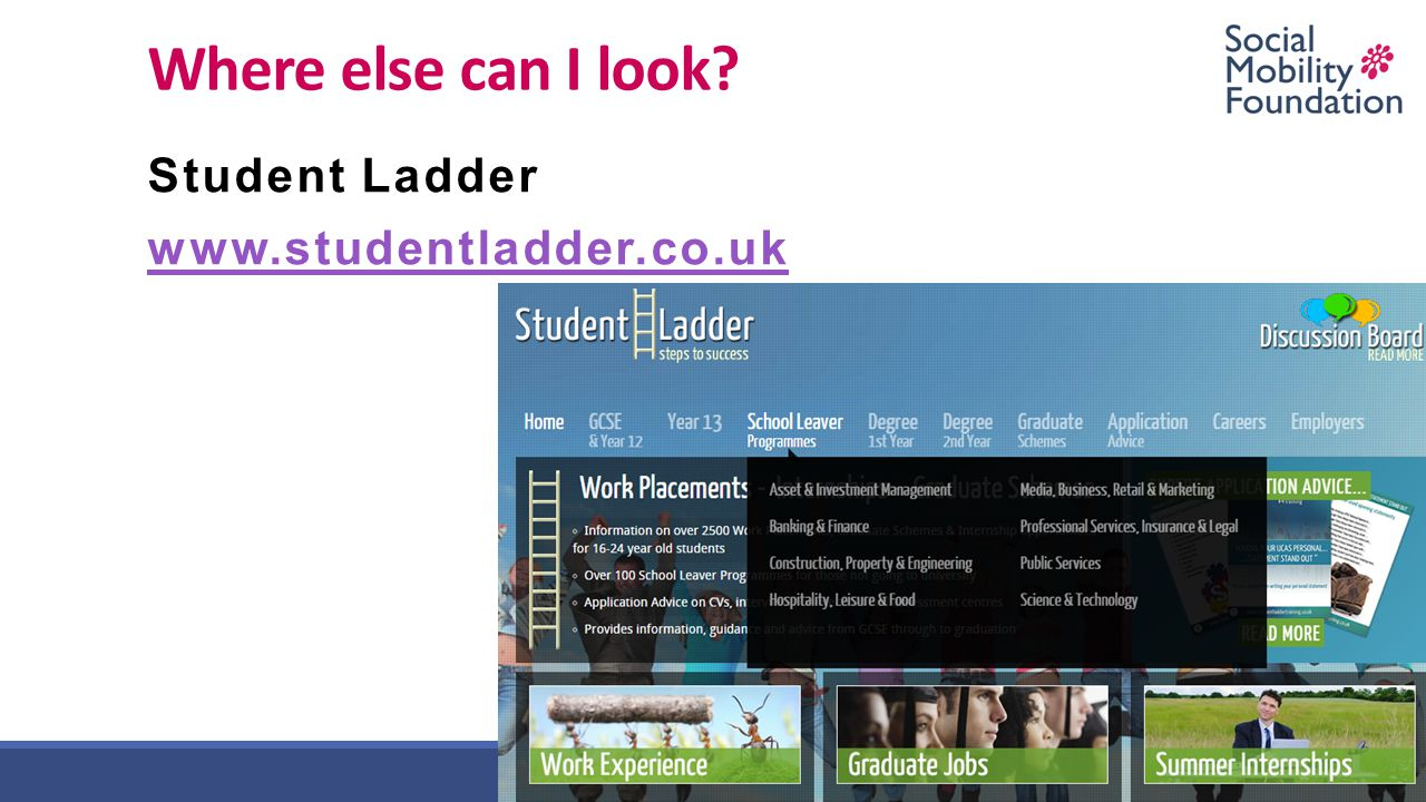 Where else can I look? Student Ladder www.studentladder.co.uk