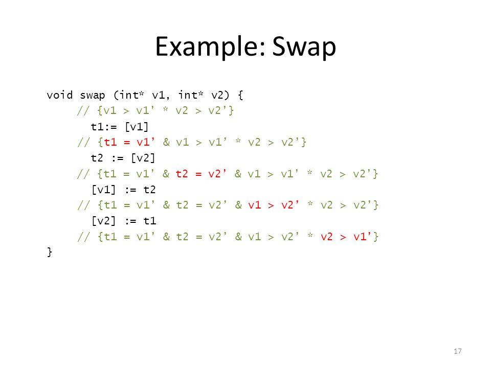 Example: Swap void swap (int* v1, int* v2) { t1:= [v1] t2 := [v2] [v1] := t2 [v2] := t1 } 17 // {v1 > v1' * v2 > v2'} // {t1 = v1' & v1 > v1' * v2 > v2'} // {t1 = v1' & t2 = v2' & v1 > v1' * v2 > v2'} // {t1 = v1' & t2 = v2' & v1 > v2' * v2 > v2'} // {t1 = v1' & t2 = v2' & v1 > v2' * v2 > v1'}