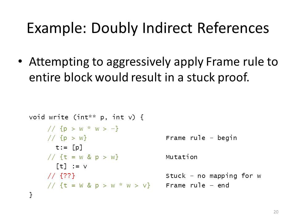 Example: Doubly Indirect References Attempting to aggressively apply Frame rule to entire block would result in a stuck proof.