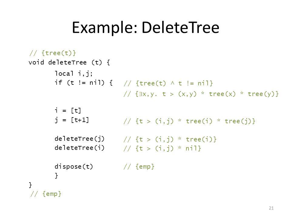 Example: DeleteTree 21 void deleteTree (t) { local i,j; if (t != nil) { i = [t] j = [t+1] deleteTree(j) deleteTree(i) dispose(t) } // {tree(t)} // {tree(t) ^ t != nil} // { ∃ x,y.