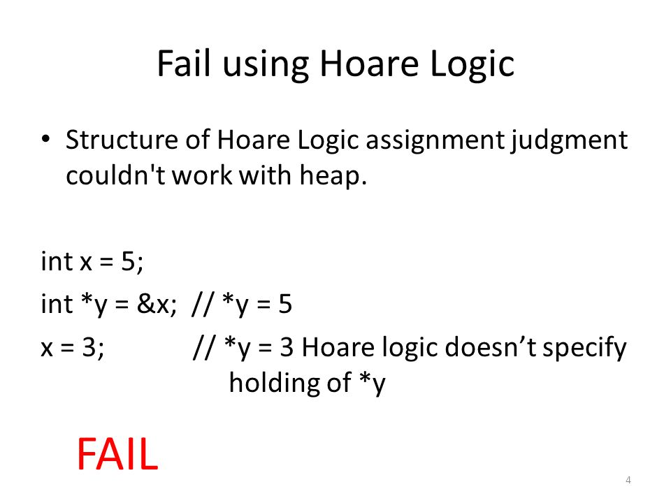 Fail using Hoare Logic Structure of Hoare Logic assignment judgment couldn t work with heap.