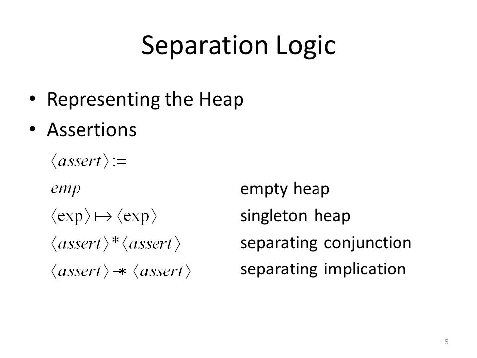 Separation Logic Representing the Heap Assertions empty heap singleton heap separating conjunction separating implication 5