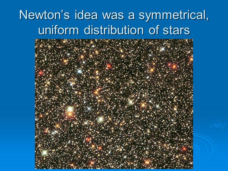 Newton's idea was a symmetrical, uniform distribution of stars