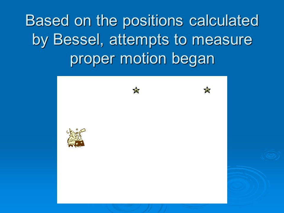 Based on the positions calculated by Bessel, attempts to measure proper motion began