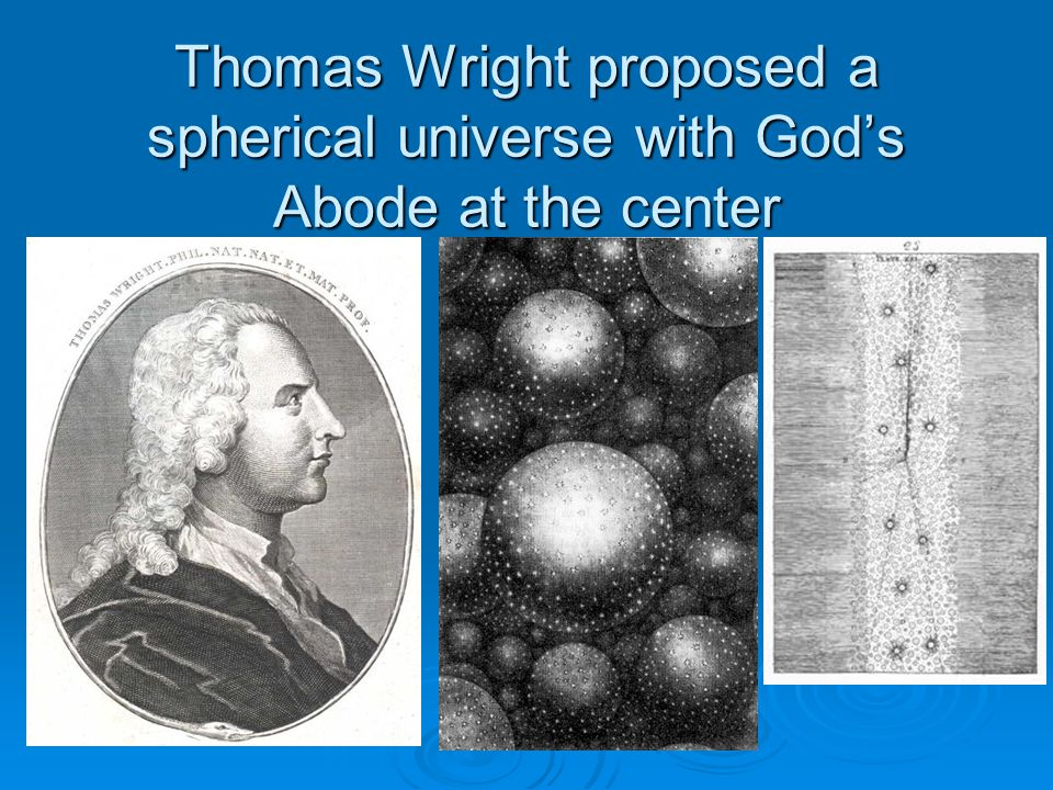 Thomas Wright proposed a spherical universe with God's Abode at the center