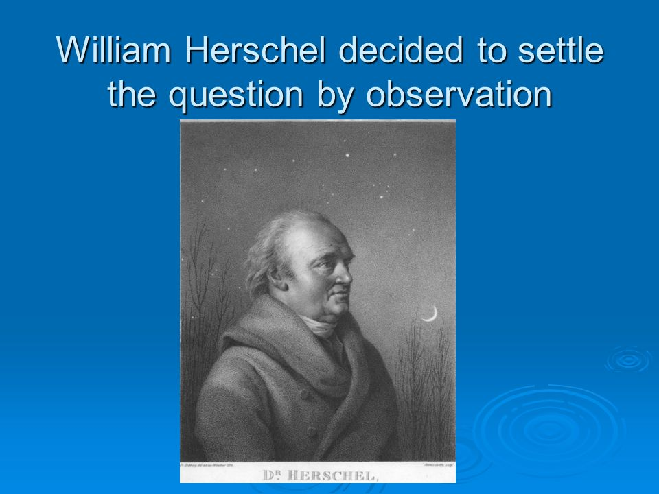 William Herschel decided to settle the question by observation