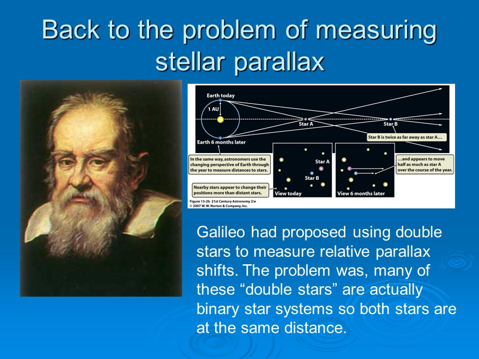 Back to the problem of measuring stellar parallax Galileo had proposed using double stars to measure relative parallax shifts.