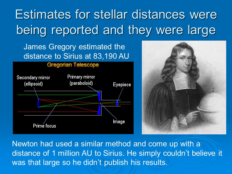 Estimates for stellar distances were being reported and they were large James Gregory estimated the distance to Sirius at 83,190 AU Newton had used a similar method and come up with a distance of 1 million AU to Sirius.