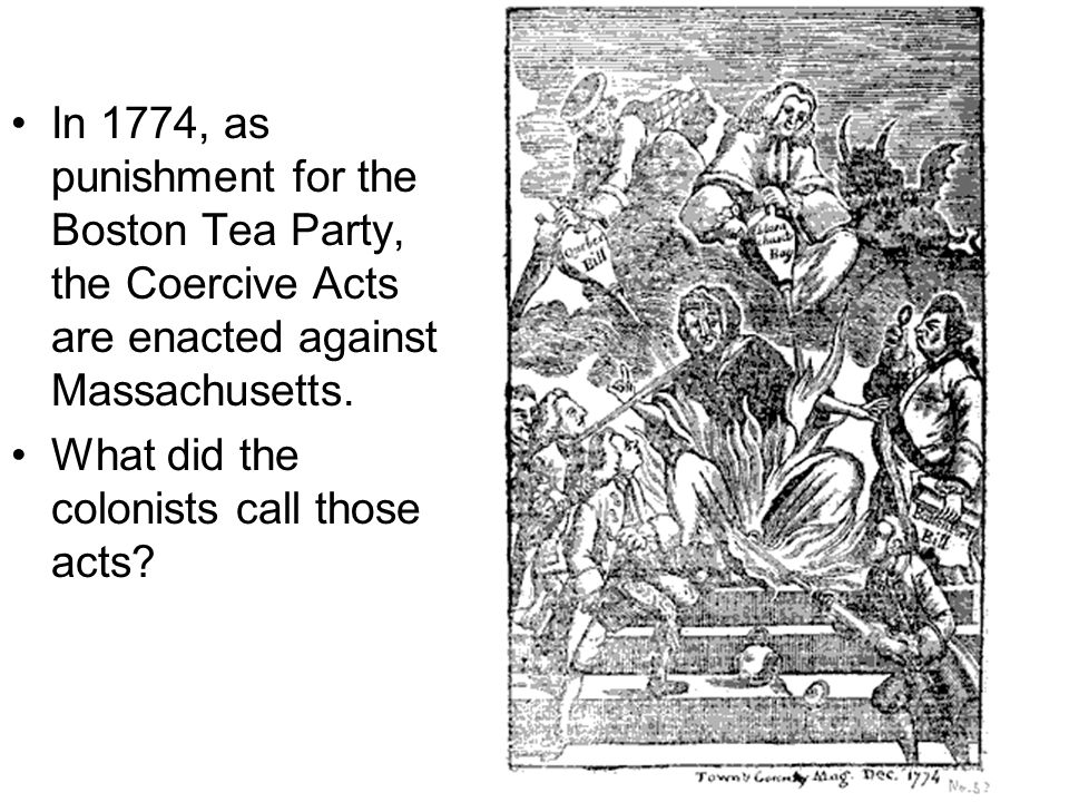 In 1774, as punishment for the Boston Tea Party, the Coercive Acts are enacted against Massachusetts. What did the colonists call those acts?