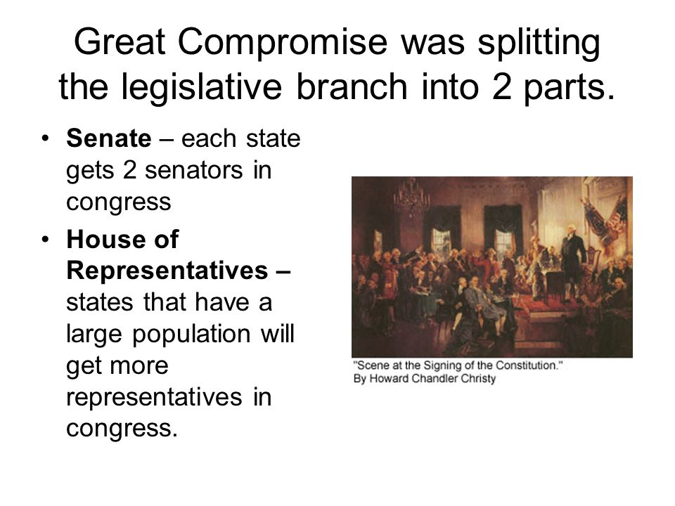 Great Compromise was splitting the legislative branch into 2 parts. Senate – each state gets 2 senators in congress House of Representatives – states