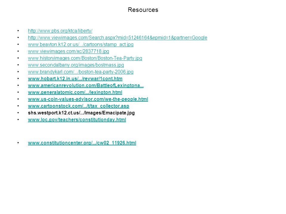 Resources http://www.pbs.org/ktca/liberty/ http://www.viewimages.com/Search.aspx?mid=51246164&epmid=1&partner=Google www.beavton.k12.or.us/.../cartoon