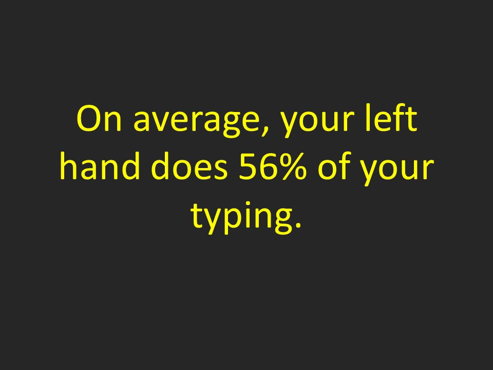 On average, your left hand does 56% of your typing.