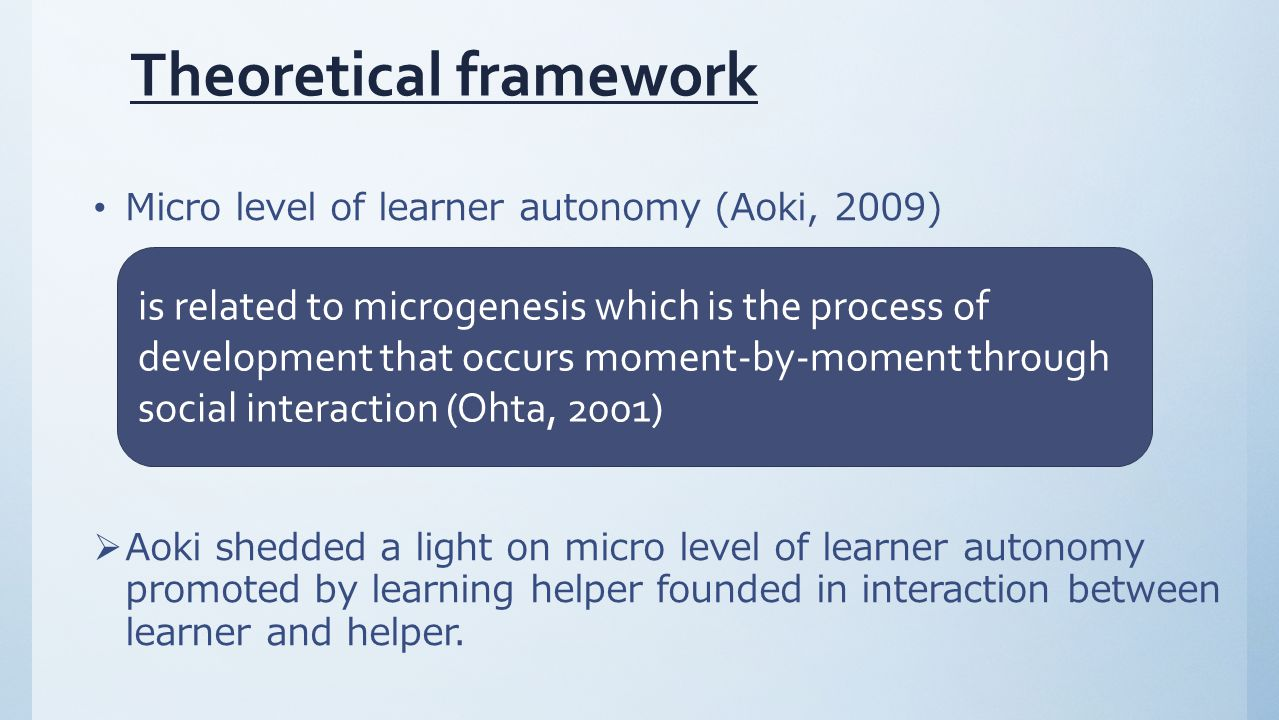 Theoretical framework Micro level of learner autonomy (Aoki, 2009)  Aoki shedded a light on micro level of learner autonomy promoted by learning helper founded in interaction between learner and helper.
