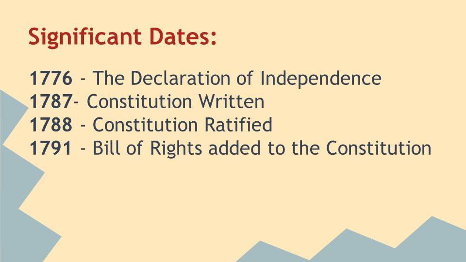 Significant Dates: 1776 - The Declaration of Independence 1787- Constitution Written 1788 - Constitution Ratified 1791 - Bill of Rights added to the Constitution