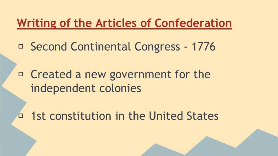 Writing the Articles of Confederation ★ Included one branch 1 representative from each of the former colonies ★ financing war ★ treaty negotiations ★ avoided a powerful executive