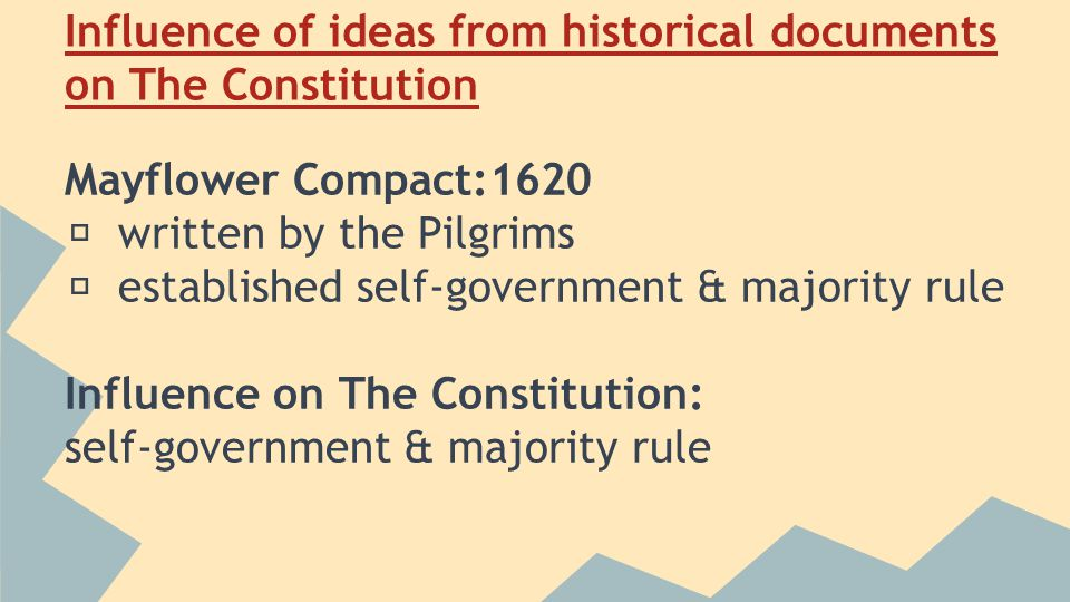 Influence of ideas from historical documents on The Constitution Mayflower Compact:1620 ★ written by the Pilgrims ★ established self-government & majority rule Influence on The Constitution: self-government & majority rule