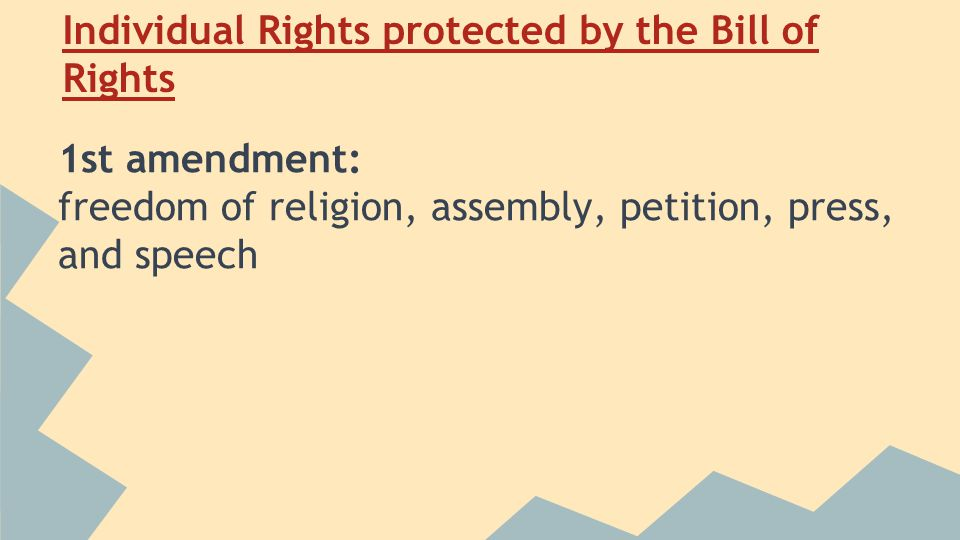 Individual Rights protected by the Bill of Rights 1st amendment: freedom of religion, assembly, petition, press, and speech