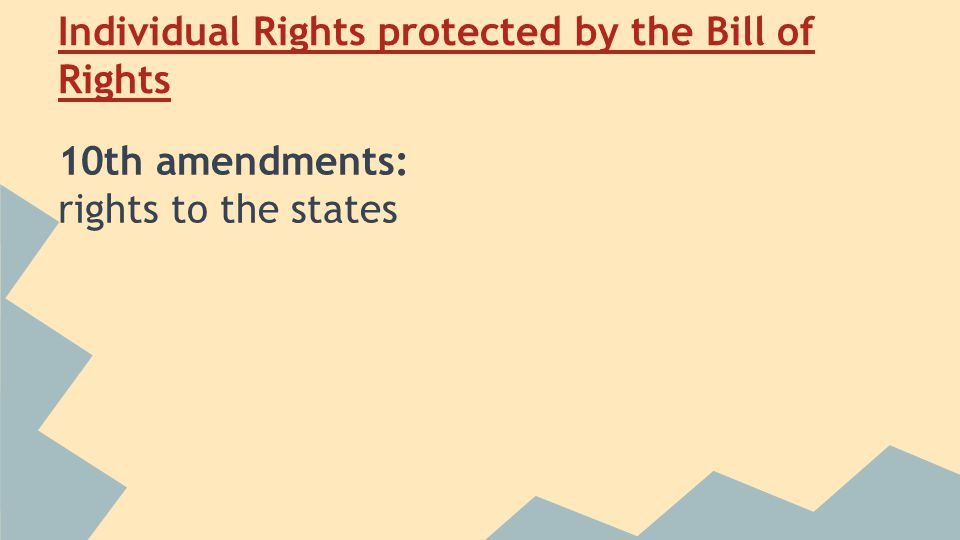 Individual Rights protected by the Bill of Rights 10th amendments: rights to the states