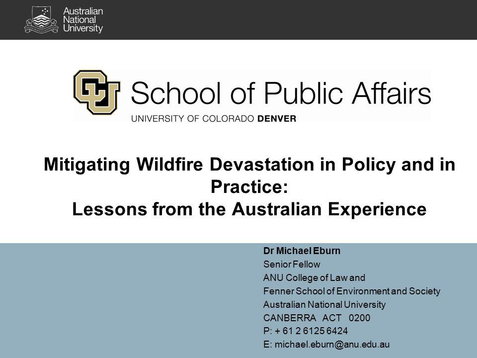 Australian disaster law A developing field.