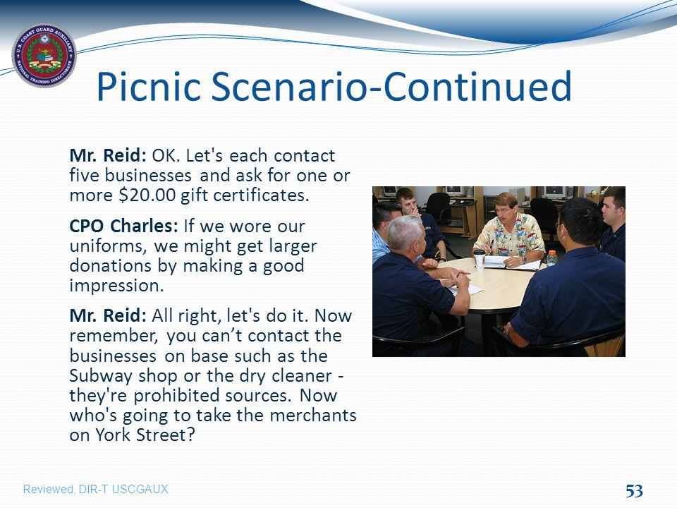 Picnic Scenario-Continued Mr. Reid: OK.