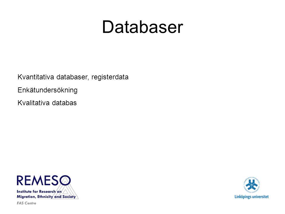 Databaser Kvantitativa databaser, registerdata Enkätundersökning Kvalitativa databas