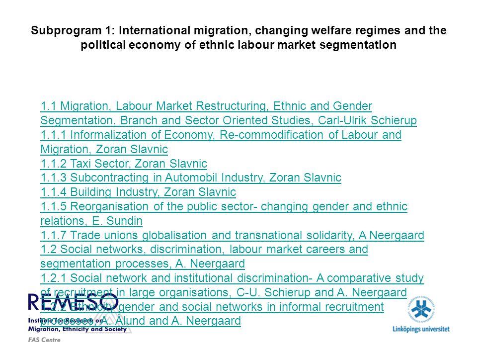 Subprogram 1: International migration, changing welfare regimes and the political economy of ethnic labour market segmentation 1.3 Scandinavian labour markets under pressure- International Migration, Recruitment Patterns and Institutional Change, M.