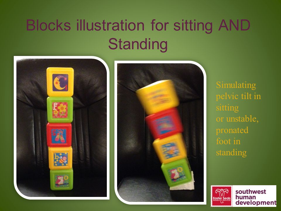 Blocks illustration for sitting AND Standing Simulating pelvic tilt in sitting or unstable, pronated foot in standing
