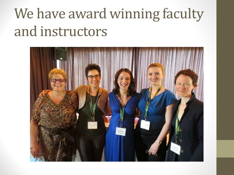 We have award winning faculty and instructors