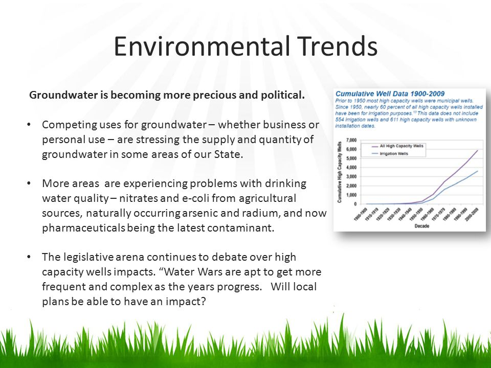 Environmental Trends Groundwater is becoming more precious and political. Competing uses for groundwater – whether business or personal use – are stre