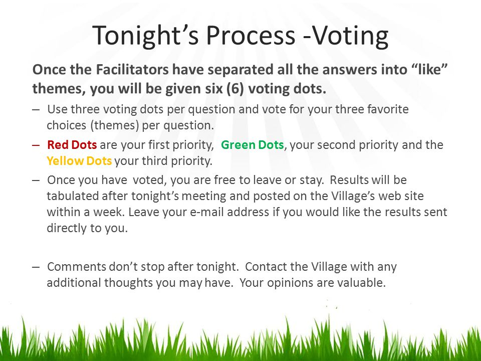 """Tonight's Process -Voting Once the Facilitators have separated all the answers into """"like"""" themes, you will be given six (6) voting dots. – Use three"""
