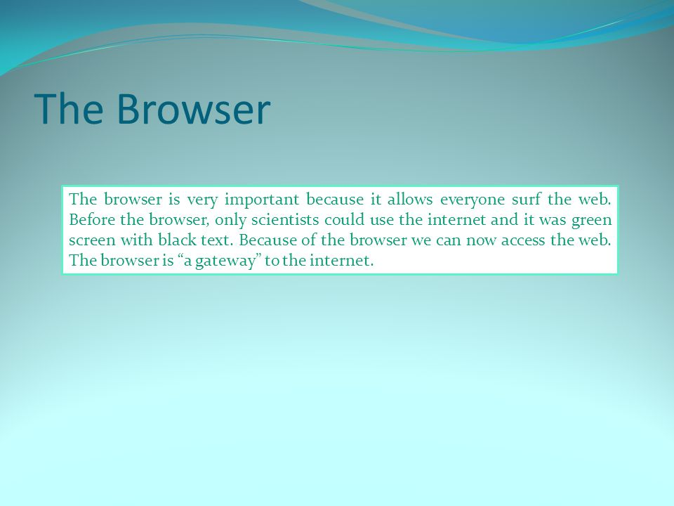 The Browser The browser is very important because it allows everyone surf the web.