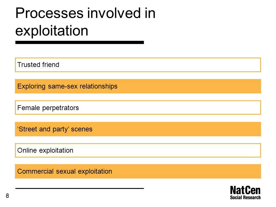 8 Processes involved in exploitation Trusted friend Exploring same-sex relationships Female perpetrators 'Street and party' scenes Online exploitation Commercial sexual exploitation