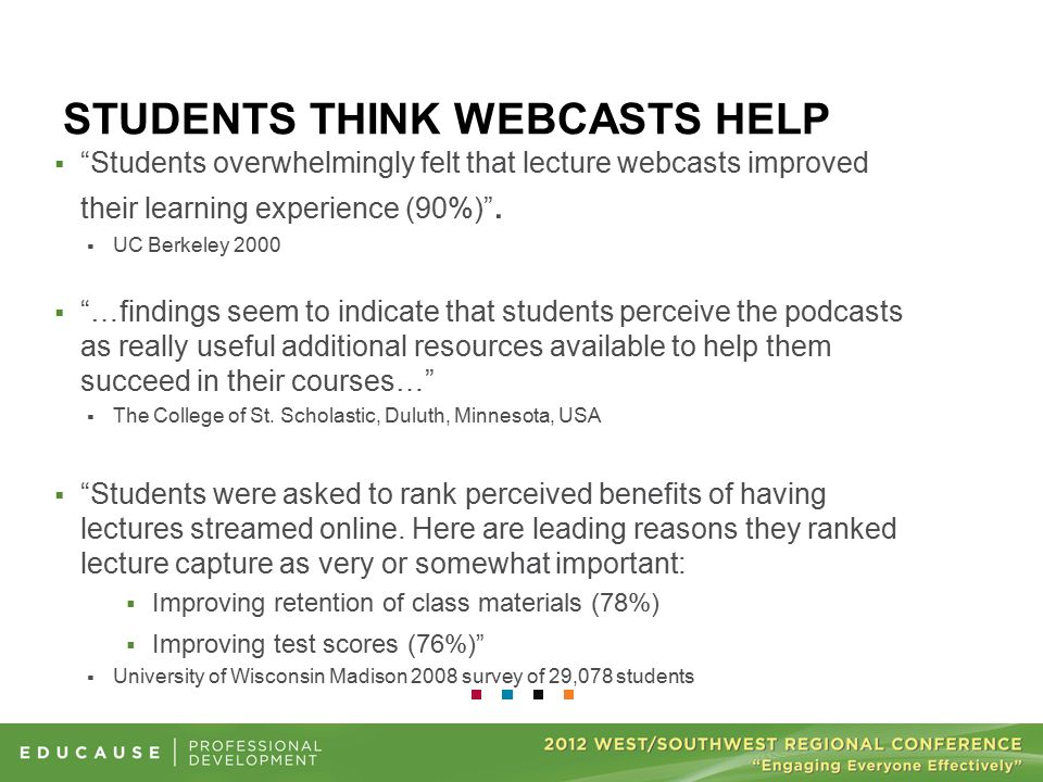 "STUDENTS THINK WEBCASTS HELP  ""Students overwhelmingly felt that lecture webcasts improved their learning experience (90%)"".  UC Berkeley 2000  ""…f"
